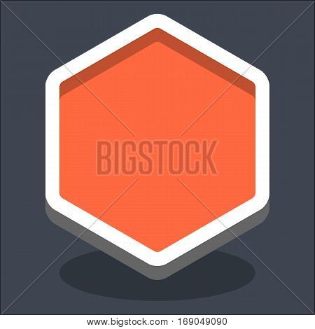 Use it in all your designs. Flat web internet hexagon button with oval shadow in 3D style. Clicked variant. Quick and easy recolorable shape. Vector illustration a graphic element