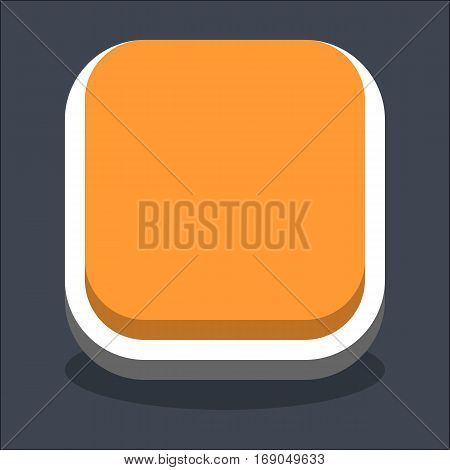 Use it in all your designs. Flat web internet square button with oval shadow in 3D style. Inactive variant. Quick and easy recolorable shape. Vector illustration a graphic element