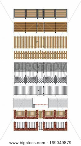 Wooden and metal fences and gates set in flat style.