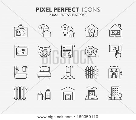 Set of real estate and homes thin line icons. Contains icons as land for sale business office deed of sale apartments and more. Editable stroke. 64x64 Pixel Perfect.