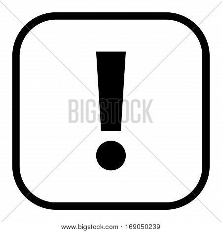 Use it in all your designs. Thin line style exclamation mark icon warning sign attention button in square shape. Vector illustration a graphic element for web internet design.