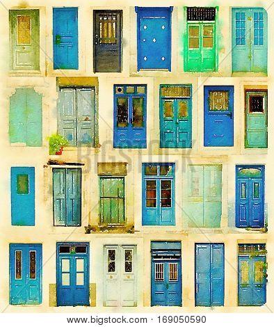 Digital watercolour of blue doors from Greece