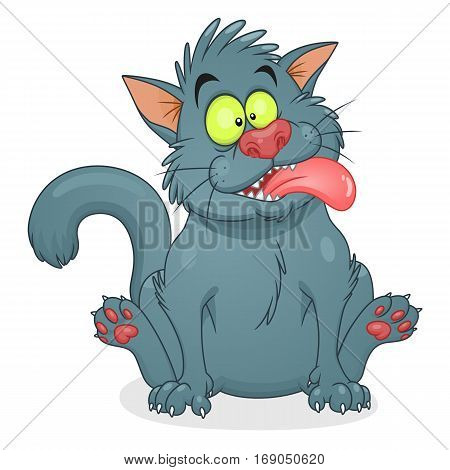 Cartoon crazy gray cat on the white background.