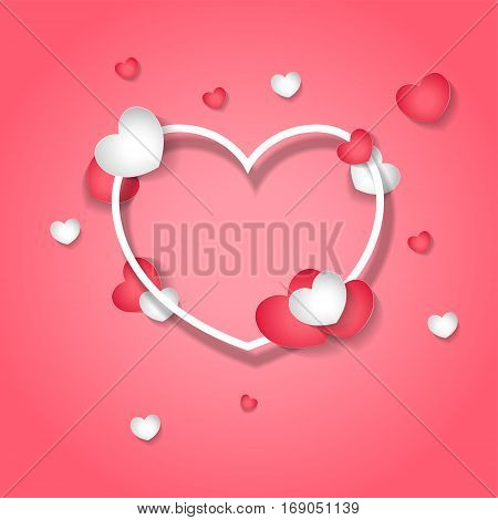 Vector background on the theme of love. White and red heart on a pink background. Valentine's Day Card