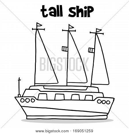 Transport of tall ship hand draw vector art