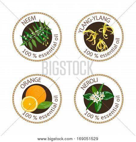Set Of Essential Oils Labels. Ylang-ylang, Neem, Neroli, Orange