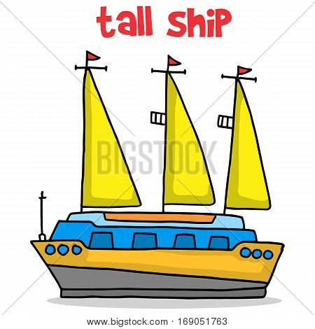 Transport of tall ship cartoon vector art