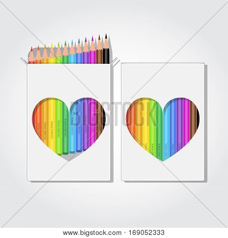 Blank box of 12 colored pencils with clipped heart shape. Realistic vector illustration.