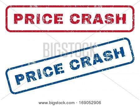 Price Crash text rubber seal stamp watermarks. Vector style is blue and red ink tag inside rounded rectangular shape. Grunge design and scratched texture. Blue and red emblems.