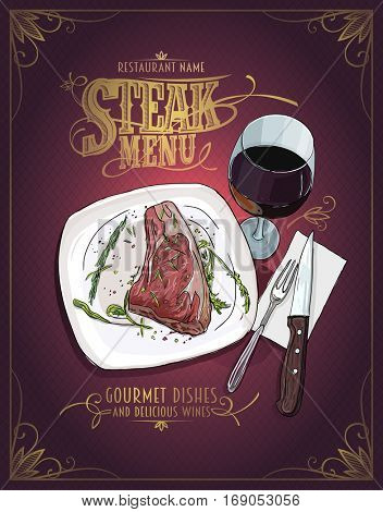 Steak menu design with hand drawn graphic illustration of a fillet mignon steak on a plate and glass of wine