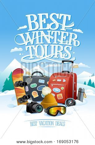Best winter tours design concept with two big suitcases, snowboard, ski goggles, hat, compass, thermos and camera, against ski resort on a backdrop