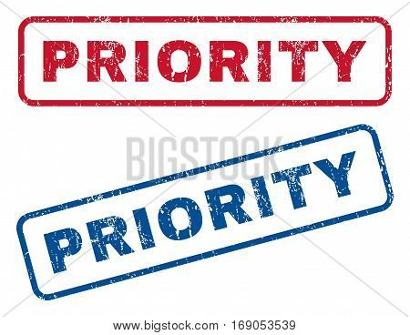 Priority text rubber seal stamp watermarks. Vector style is blue and red ink caption inside rounded rectangular shape. Grunge design and dirty texture. Blue and red signs.