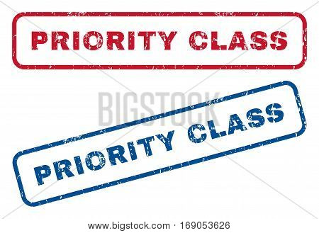 Priority Class text rubber seal stamp watermarks. Vector style is blue and red ink caption inside rounded rectangular shape. Grunge design and dust texture. Blue and red emblems.