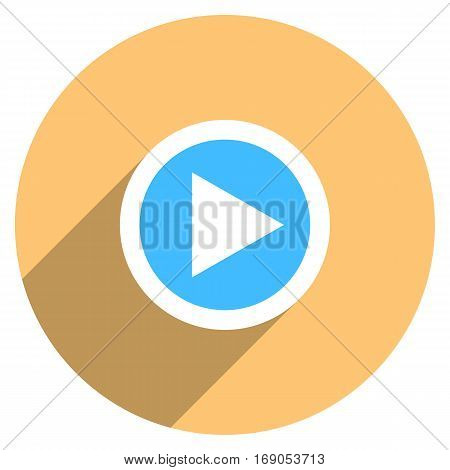 Use it in all your designs. Arrow sign play icon in circle shape. Multimedia audio video movie interface button in flat long shadow style. Vector illustration a graphic element.