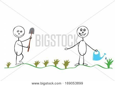 Two farmers with a shovel and watering can for watering work together / planting seedlings in the garden