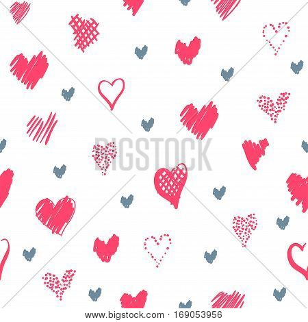 Romantic pattern with hearts. Elements hand-drawn style sketch. Perfect for holidays decoration Valentines day packaging print on fabrics and other. Red and grey hearts on white background