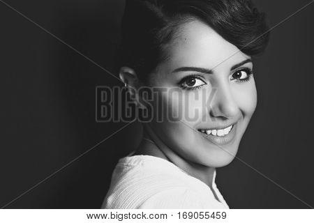 Beautiful young saudi arabian woman smiling