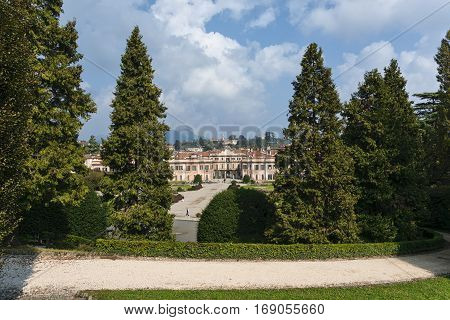 VARESE, ITALY - OCTOBER 2, 2016: Varese (Lombardy Italy): Giardini degli Estensi historic park at october