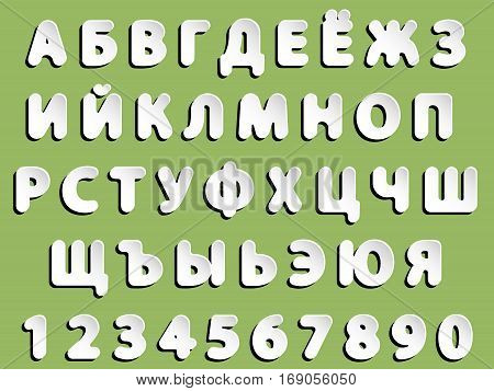 flat vector grey rounded Cyrillic font alphabet letters and numerals with black shadow and white glow paper or metallic effect