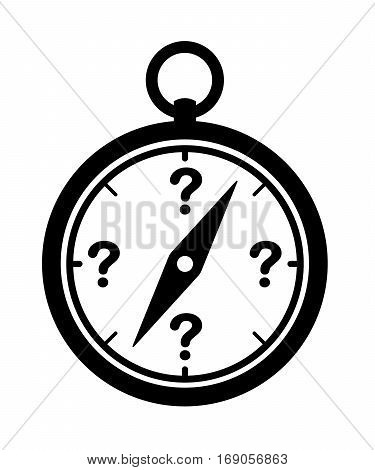 Compass icon with question marks orientation concept vector illustration