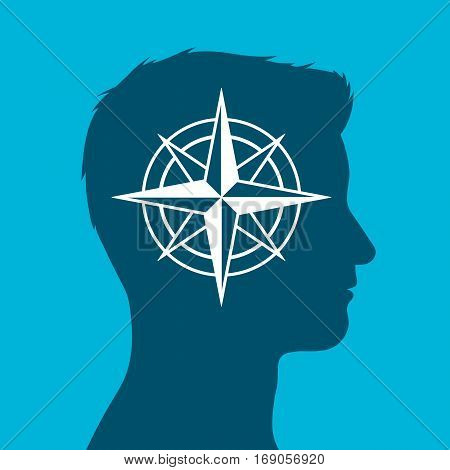 Human head in silhouette with compass rose sign inset against a blue background vector illustration