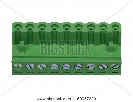 Green electrical connector isolated on white background