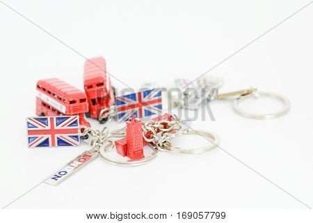 Visit London concept with colorful souvenir key chains