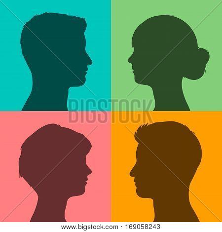 Four silhouettes of male and female heads in profile on different brightly colored backgrounds vector illustration for avatars or internet