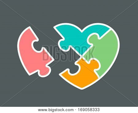 Conceptual icon of heart shaped jigsaw puzzle colored orange pink green and aqua vector illustration