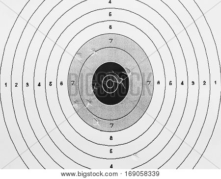 Made of Paper Target icon, sight sniper symbol on white paper background