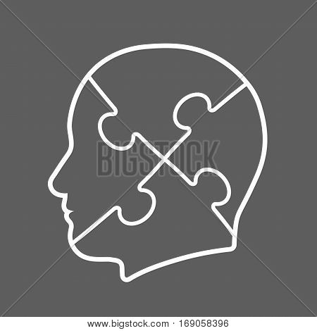 Icon of a head cut into four jigsaw puzzle pieces depicting teamwork vector illustration