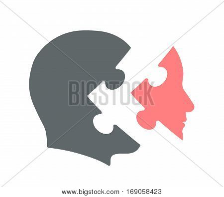 Head silhouette icon with jigsaw puzzle piece as a face or mask vector illustration