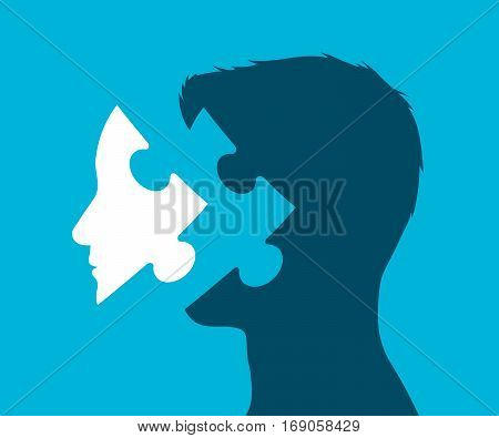 Conceptual rendering of a head with puzzle piece in place of a face against a blue background vector illustration
