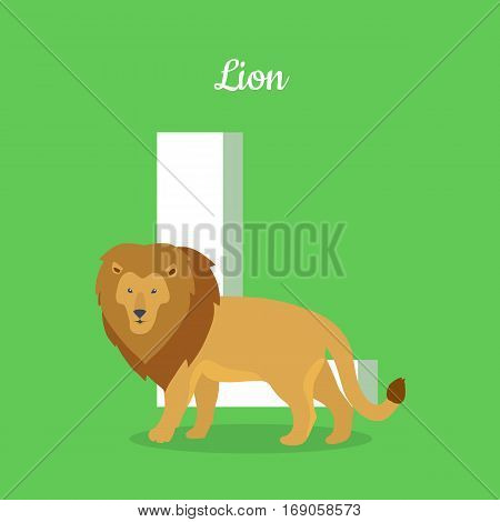 Animals alphabet. Letter - L. Brown lion stands near letter. Alphabet learning chart with animal illustration for letter and animal name. Vector zoo alphabet with cartoon animal on green background