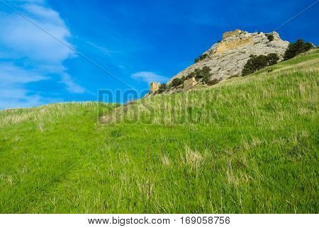 Path to fortress wall - inside Genoese stronghold in Sudak town Crimea Ukraine