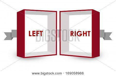 Opposite Text Inside Red and White 3D Box on White Background