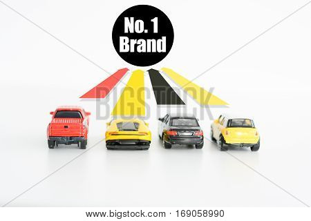 Best car seller concept with toys and up arrows