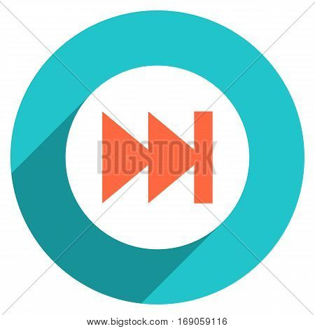 Use it in all your designs. Arrow sign last or first icon in circular shape. Multimedia audio video movie interface button in flat long shadow style. Vector illustration a graphic element for design