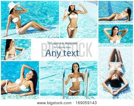 Attractive, sporty, smiling girl with sexy body. Woman in swimsuit near swimming pool. Collection collage. Holiday, vacation,summer, beauty concept.