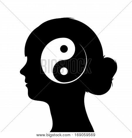 Black and white vector illustration with a profile silhouette of a female head with a Chinese yin yang symbol in a conceptual image
