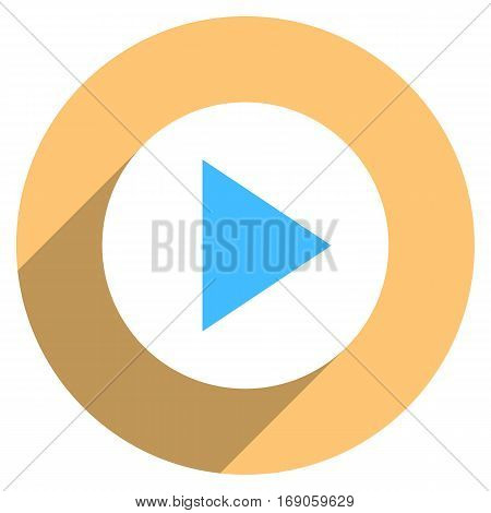 Use it in all your designs. Arrow sign play icon in circular shape. Multimedia audio video movie interface button in flat long shadow style. Vector illustration a graphic element for design