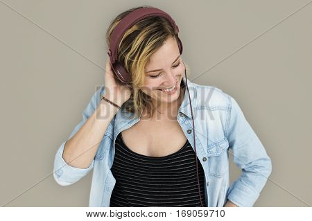 Caucasian Lady Embarrassed Studio Concept