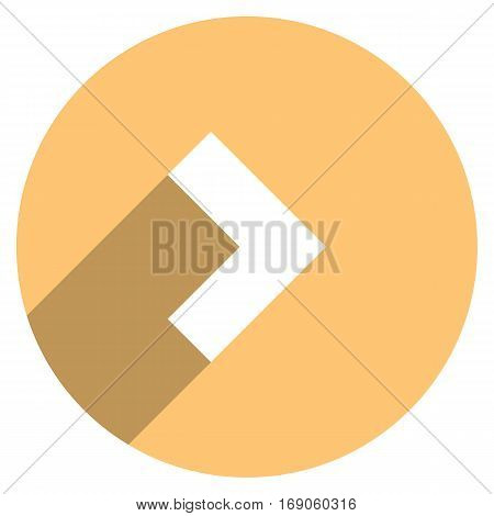 Use it in all your designs. Arrow sign direction icon in circular shape. Flat web internet button with long shadow. Quick and easy recolorable shape. Vector illustration a graphic element.