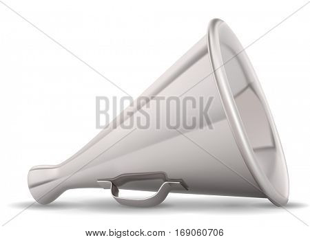 Retro metal speaking trumpet realistic illustration isolated on white background. Raster copy.