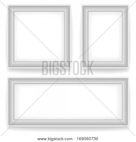 Blank white wall picture frames isolated on white background. 3 variants: square, vertical, horizontal. Raster copy.