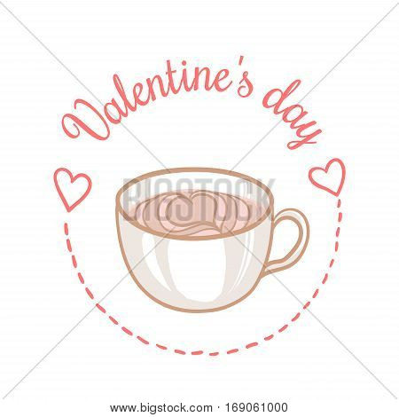 St Valentines day vector design element. Suitable for party invitation, romantic greeting card or web banner. February 14 Breakfast, Latte Art Heart