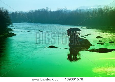 Holiday house on a rock in the river Drina, Serbia