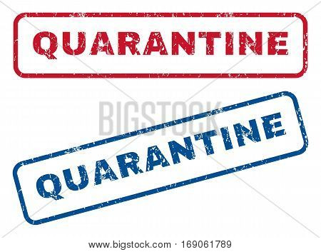 Quarantine text rubber seal stamp watermarks. Vector style is blue and red ink caption inside rounded rectangular shape. Grunge design and dust texture. Blue and red emblems.