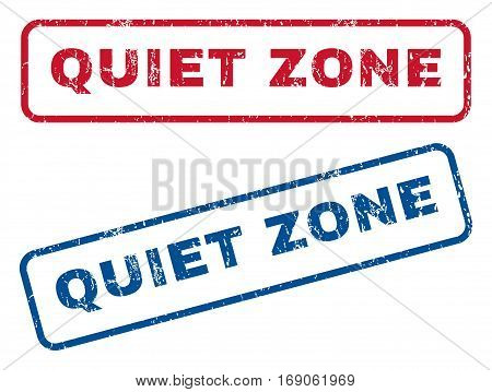Quiet Zone text rubber seal stamp watermarks. Vector style is blue and red ink caption inside rounded rectangular banner. Grunge design and dust texture. Blue and red stickers.