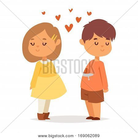Happy smiling couple in love vector characters togetherness. Romantic kids together happy relationship. Child lifestyle beautiful happiness human.